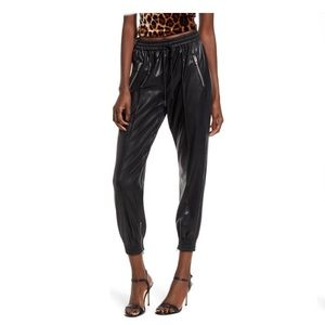BLANKNYC Running Wild Faux Leather Track Pants